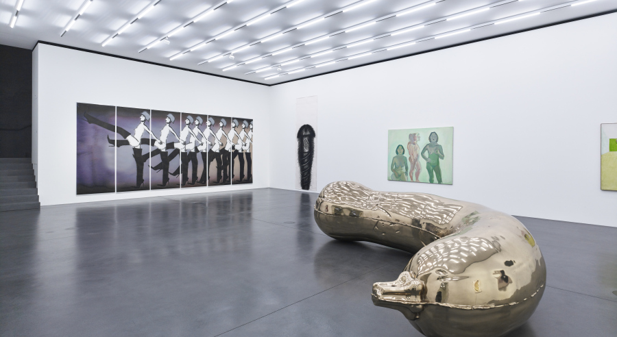 "From left to right: works by Ida Applebroog, Judith Bernstein, Maria Lassnig, Sarah Lucas (sculpture). Installation view of ""A Woman Looking at Men Looking at Women."" Courtesy: Art Stations Foundation CH, Muzeum Susch © Błażej Pindor for Muzeum Susch / Art Stations Foundation CH"