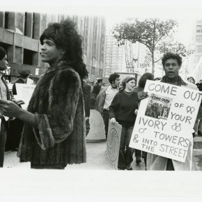 Diana Davies, Untitled (Marsha P. Johnson Hands Out Flyers For Support of Gay Students at N.Y.U.), c. 1970, digital print, 11 x 14 in. © The New York Public Library/Art Resource, New York. Photo: Diana Davies