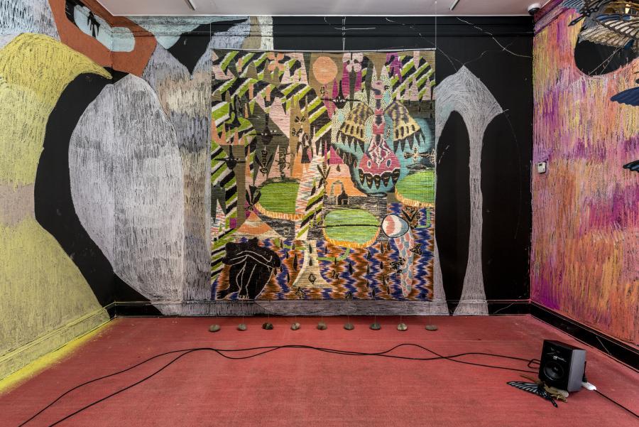 Yann Gerstberger, A Mangrove at Dusk. Vista de la exposición en Museo MATE, Lima, 2019. Foto: Renzo Rebagliati