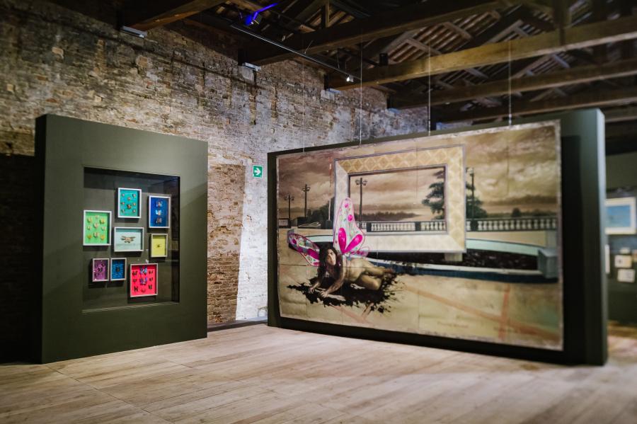 """Vista de la exposición """"Indios Antropófagos"""", de Christian Bendayán. Pabellón de Perú en la 58° Bienal de Venecia. Foto: Leonardo Ramírez. Cortesía: Patronato Cultural del Perú"""