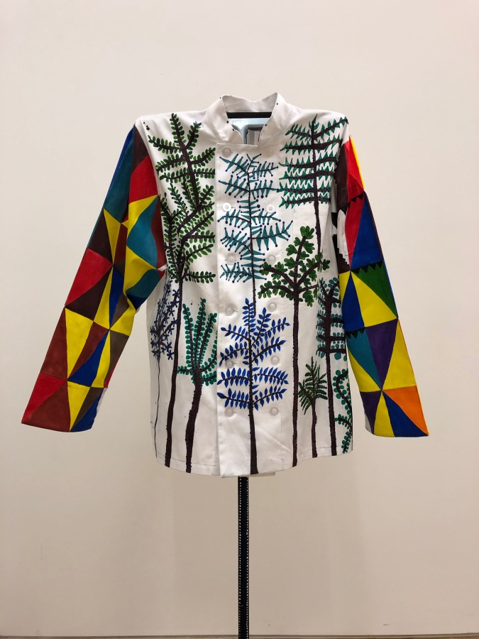 """Gerardo Rosales, """"Pontifrito"""", from the Series Early Birds, 2019, domestic worker's uniform modified, hand painted on fabric. Courtesy of the artist"""