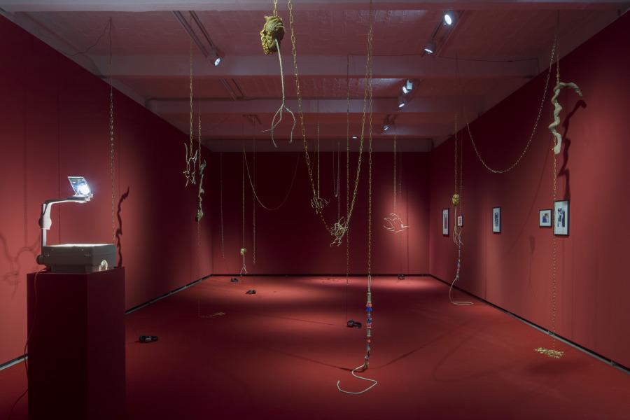 "Installation view of ""Radio Carabuco"", by Andrés Pereira Paz, at Künstlerhaus Bethanien, Berlin, 2019. Photo: David Brandt"