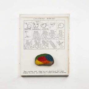 Miralda, Color Bread, 1973. Bread cooked with food coloring, printed drawing, Plexi-glass vitrine. Edition of 33. Courtesy: HFNY