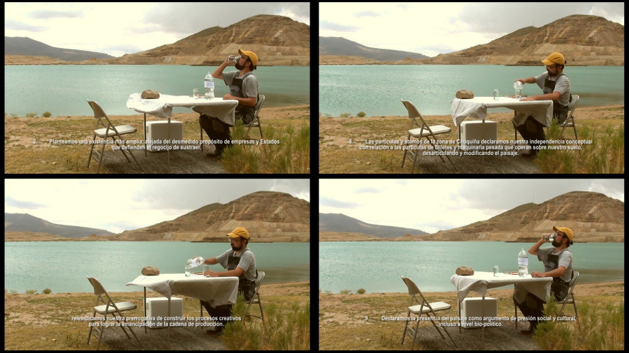 Santiago Contreras, Mesa para dos, 2017, video performance + resultados de estudio de agua. Mina Inti Raymi, sector Chuquiña. Cortesía del artista