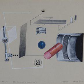 Casi-Proun. Medio homenaje a El Lissitzky. Hugo Rivera-Scott, Álvaro Donoso 1973. Dibujo y colage sobre papel