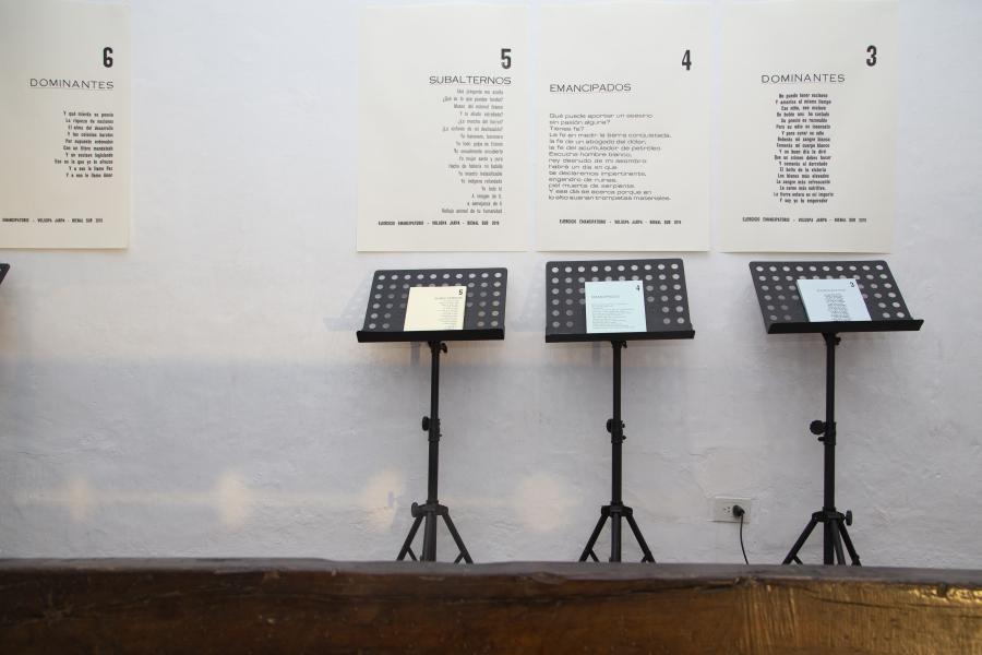 Ópera Emancipatoria, de Voluspa Jarpa. Vista de la instalación en el Museo del Cabildo, Buenos Aires, 2019. Foto: ©Jimena Salvatierra/Bienalsur