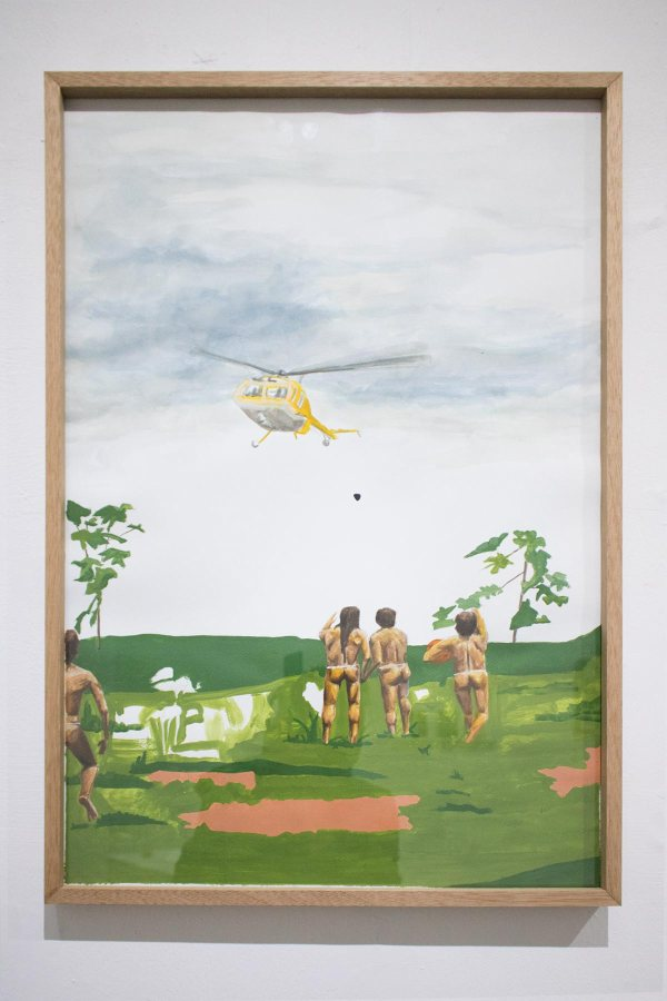 """Vista de la exposición """"Presentimiento"""", de Byron Toledo Goyes, en No Lugar, Quito, 2019. Foto cortesía de No Lugar"""