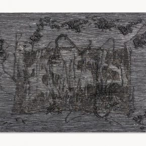 Jesús Rafael Soto, Untitled (Barroco Negro), 1961, mixed media on panel, 95.3 x 158.8 x 15.2 cm. Artist Rights Society (ARS), New York / ADAGP, Paris. Photo: Alfredo Gugig