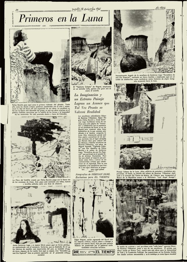 """Artículo """"Primeros en la Luna"""", diario El Tiempo, Colombia, 28 de diciembre de 1965. Cortesía del artista"""