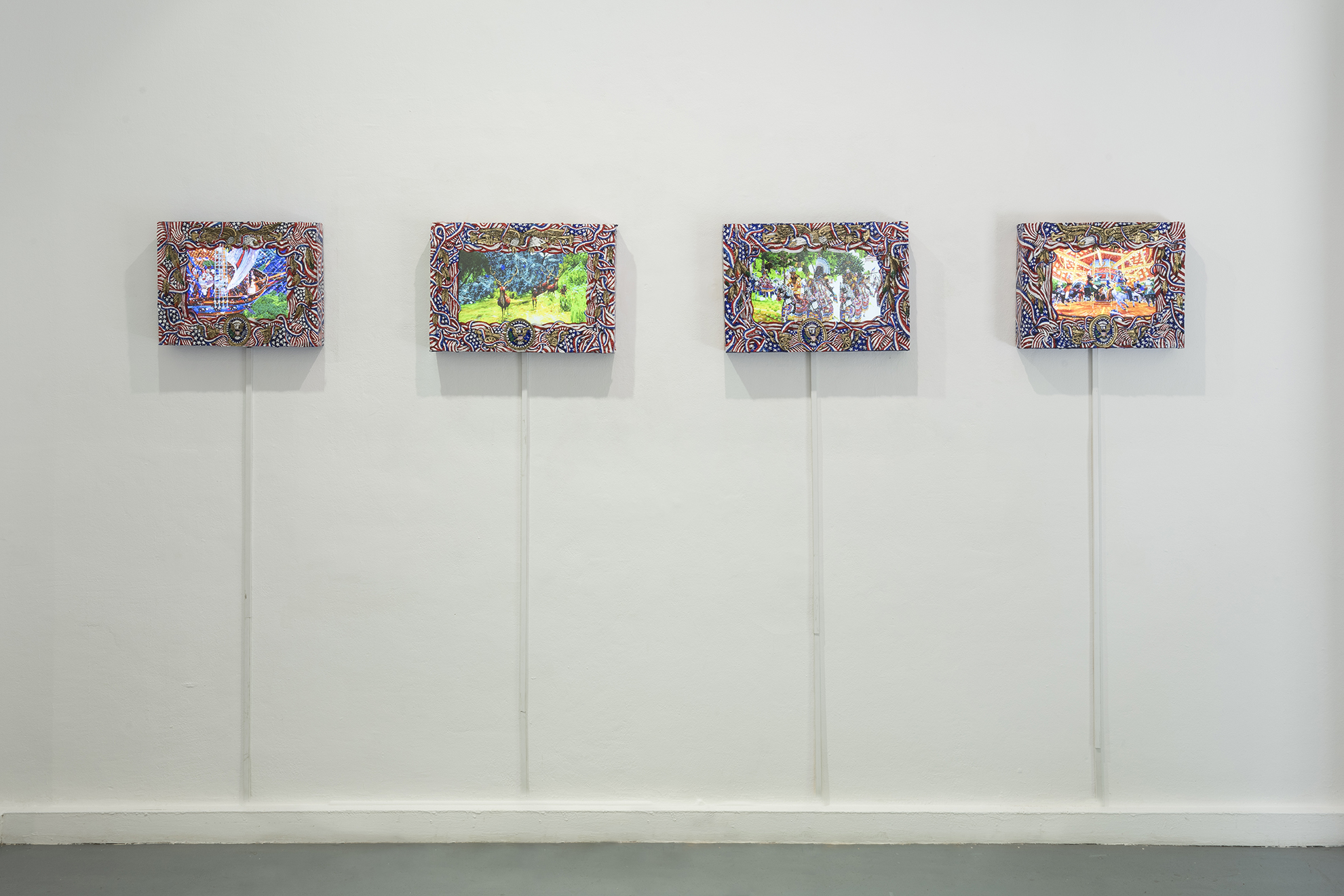 Vista de la exposición Mundus Novus, de Federico Solmi, en ADN Galería, Barcelona, 2019. Cortesía del artista y ADN Galería. Foto: Roberto Ruiz.