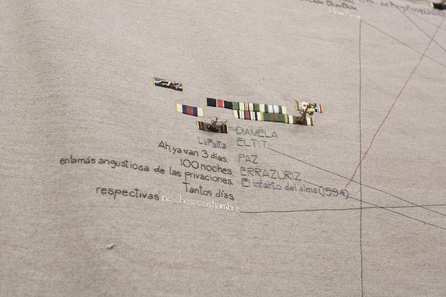"""Detalle de la obra de Luis Arroyo en la exposición """"Pach Pan"""", DiabloRosso, Ciudad de Panamá, 2019. Foto cortesía de la galería"""