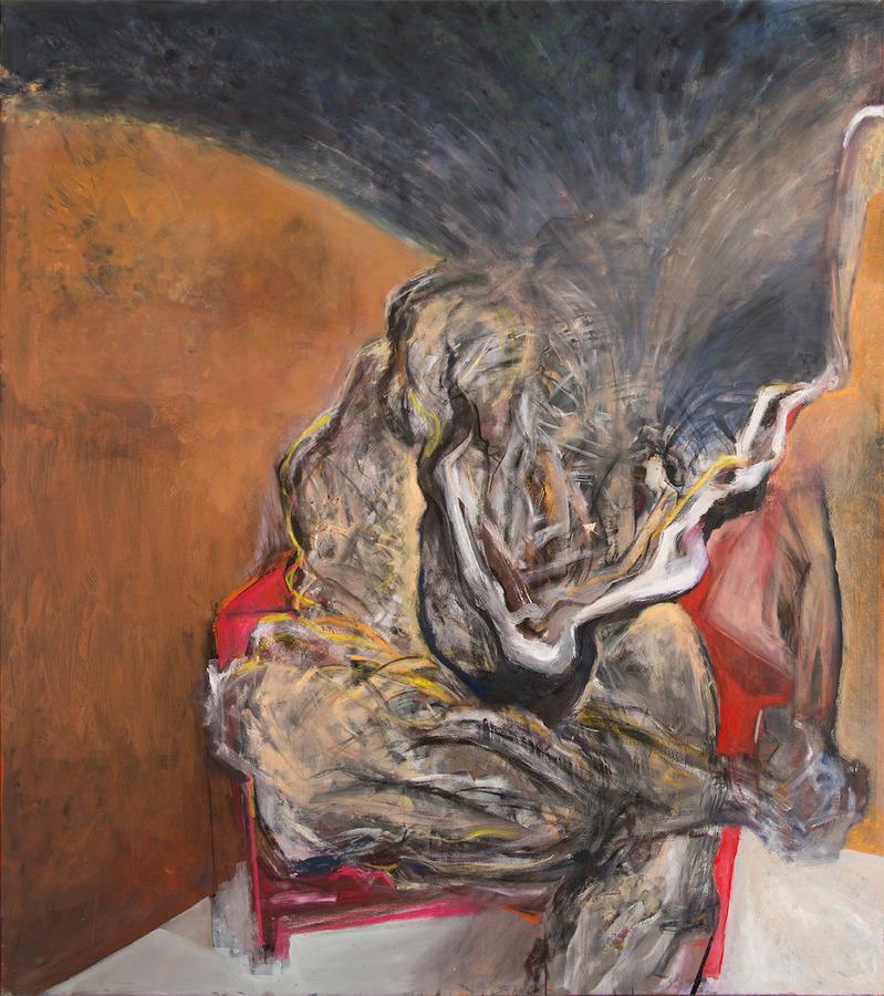 Sebastián Yrarrázaval, Contemplativo I, 2019, óleo sobre tela, 207 x 185 cm. Cortesía: Aninat Galería