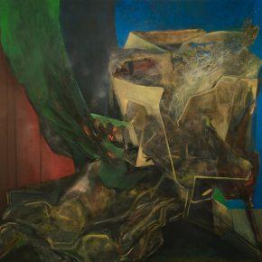 Sebastián Yrarrázaval, Contemplativo II, 2019, óleo sobre tela, 197 x 207 cm. Cortesía: Aninat Galería 2019