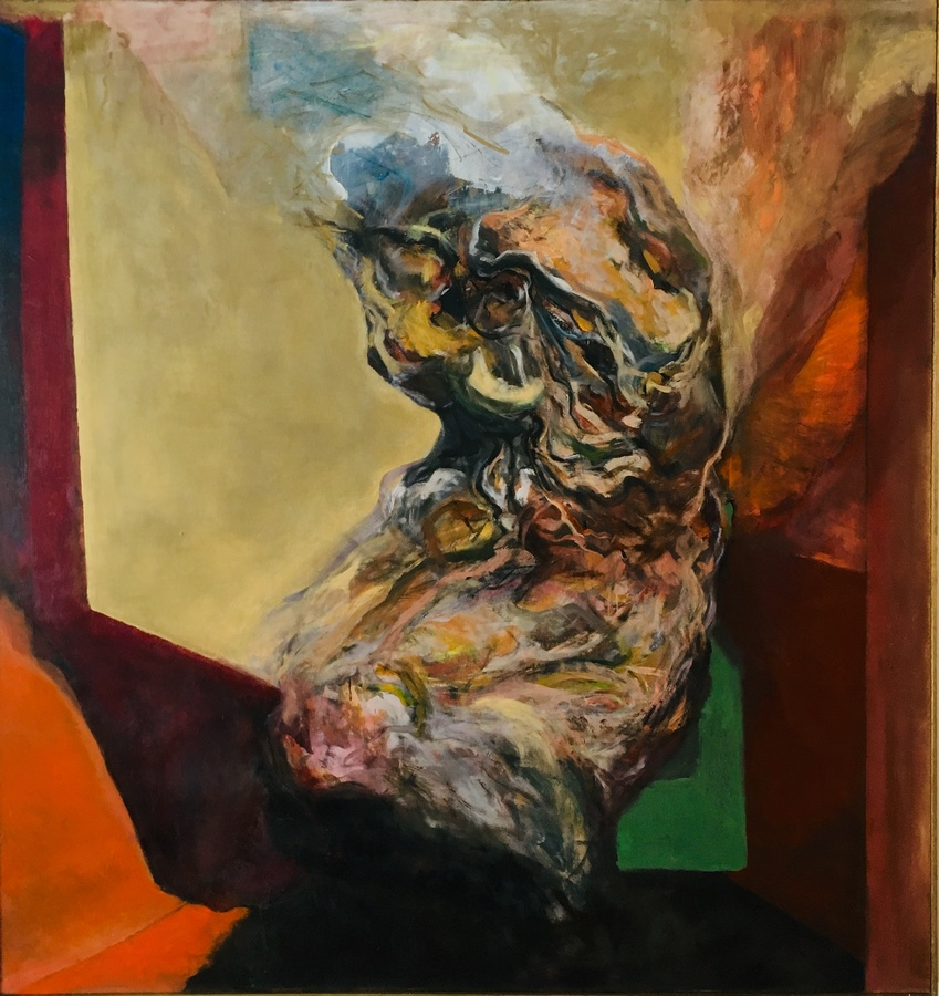 Sebastián Yrarrázaval, Contemplativo III, 2019, óleo sobre tela, 197 x 187 cm. Cortesía: Aninat Galería