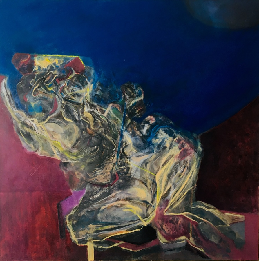 Sebastián Yrarrázaval, Contemplativo IV, 2019, óleo sobre tela, 197 x 197 cm. Cortesía: Aninat Galería