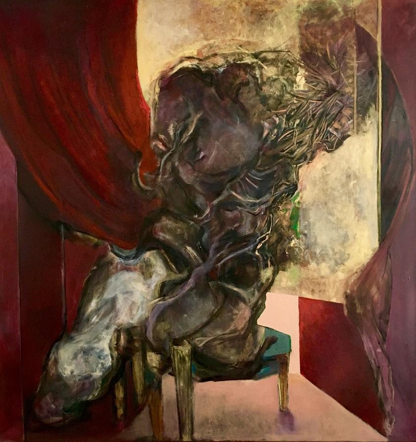 Sebastián Yrarrázaval, Contemplativo VIII, 2019, óleo sobre tela, 207 x 197 cm. Cortesía: Aninat Galería