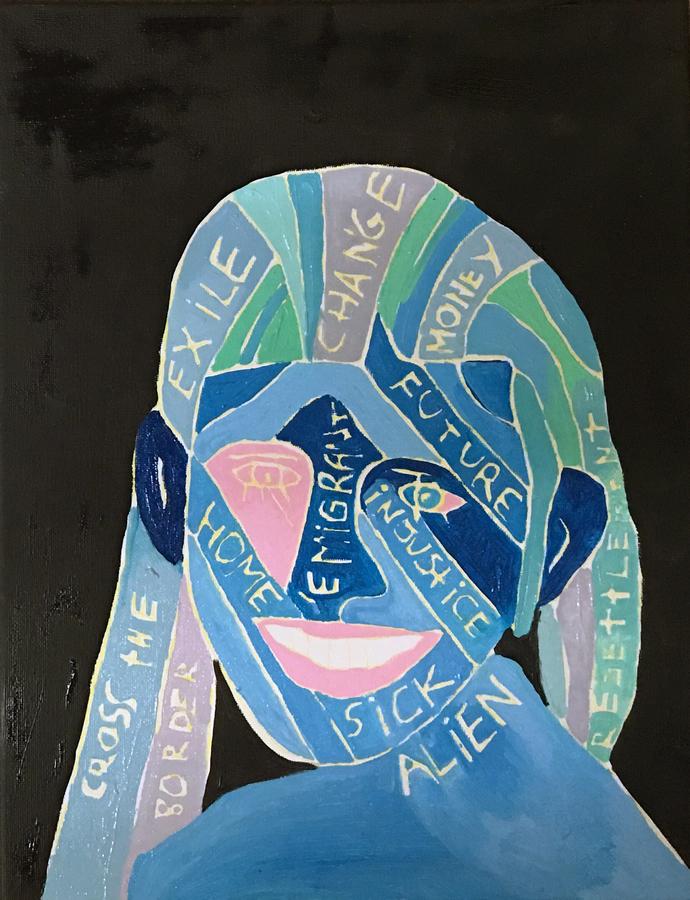 """La Migrante, de Manuela Viera-Gallo. Vista de la exposición """"Estéticas migratorias"""", en la galería de la George Mason University, Washington D.C, 2019. Cortesía: RoFA Projects"""