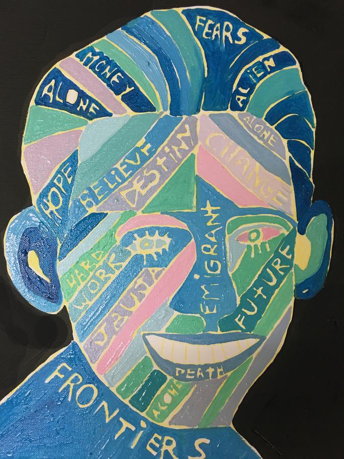 """El Migrante, de Manuela Viera-Gallo. Vista de la exposición """"Estéticas migratorias"""", en la galería de la George Mason University, Washington D.C, 2019. Cortesía: RoFA Projects"""