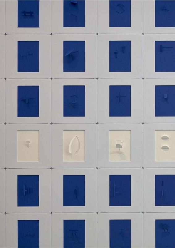 """Marco Maggi, """"A"""" (detalle), 2019, cortes y plegados en 432 papeles de 35 mm, 120 x 90 cm. Cortesía: Galería Cayón, Madrid"""