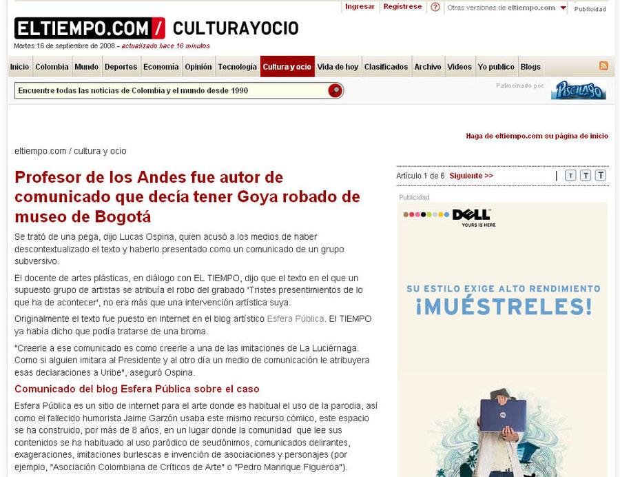 Diario El Tiempo (captura) sobre Lucas Ospina y el caso del Goya. Cortesía: Esfera Pública.