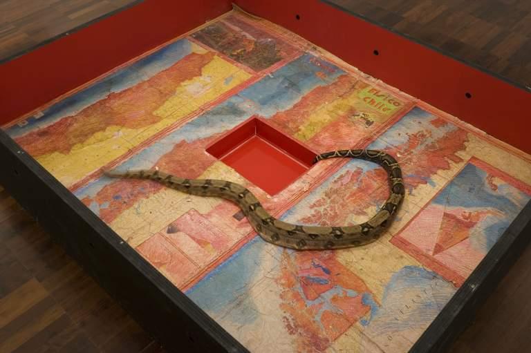 Juan Downey, Anaconda: Mapa de Chile, 1973, instalación (estructura de madera conteniendo una serpiente anaconda viva, receptáculo de agua, y un dibujo del mapa de Chile), 212 × 170 × 45 cm. Cortesía: Juan Yarur Torres, Fundación AMA, Santiago, Chile.
