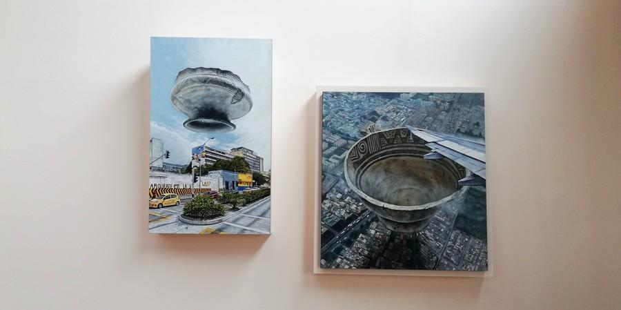 """Obras de Adalberto Calvo en """"Universos desdoblados"""", curaduría de La Usurpadora para el 45 SNA, MAMBO, Bogotá, 2019. Foto cortesía de 45 SNA"""
