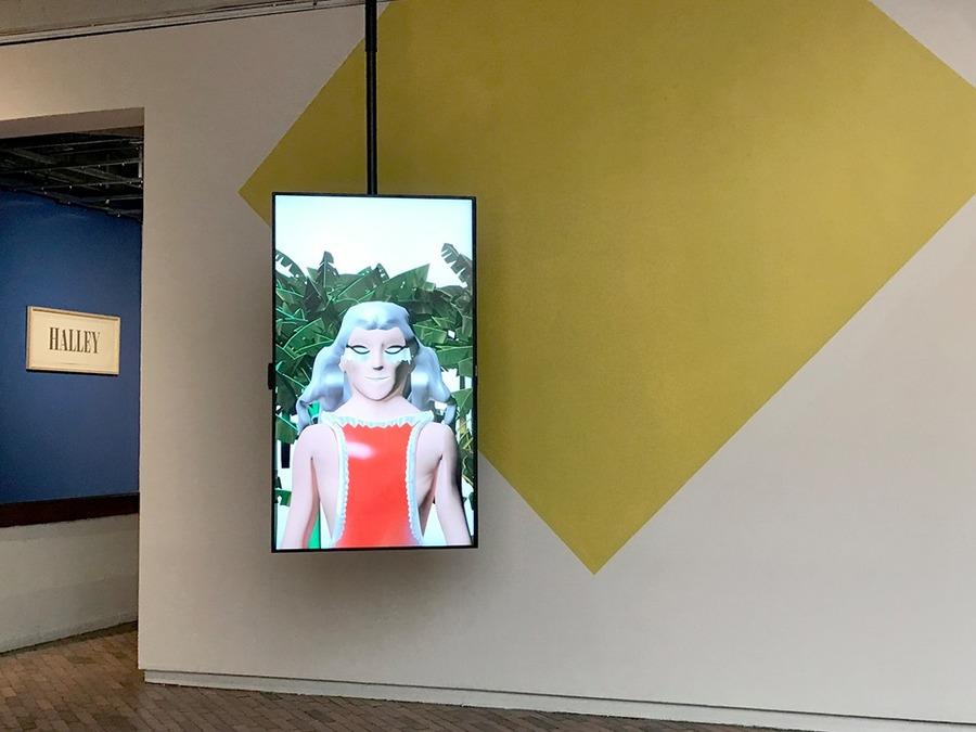 """Obras de Ana María Millán y Adolfo Bernal en """"Universos desdoblados"""", curaduría de La Usurpadora para el 45 SNA, MAMBO, Bogotá, 2019. Foto cortesía de La Usurpadora"""