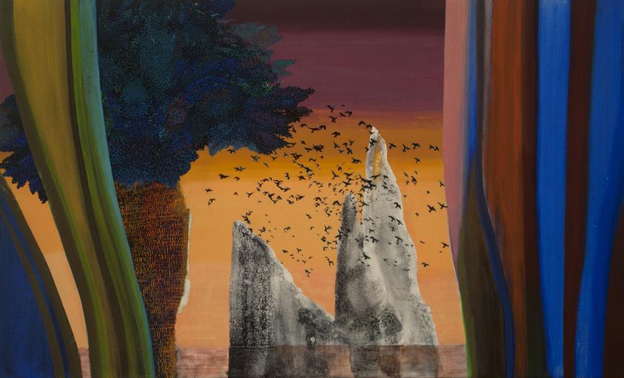 Hulda Guzmán, La danza, 2019, acrílico y gouache sobre tela, 94 x 153 cm. Cortesía: Dio Horia, Atenas