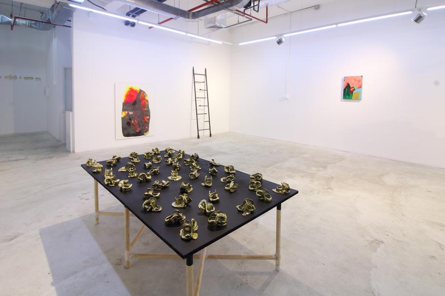 """Vista de la exposición """"Las flores azules que están atrás de las montañas que están hablando. Ustedes que dicen saberlo todo, interprétenlas, interprétenlas, en IK Projects, Lima, 2019. Foto cortesía de la galería"""