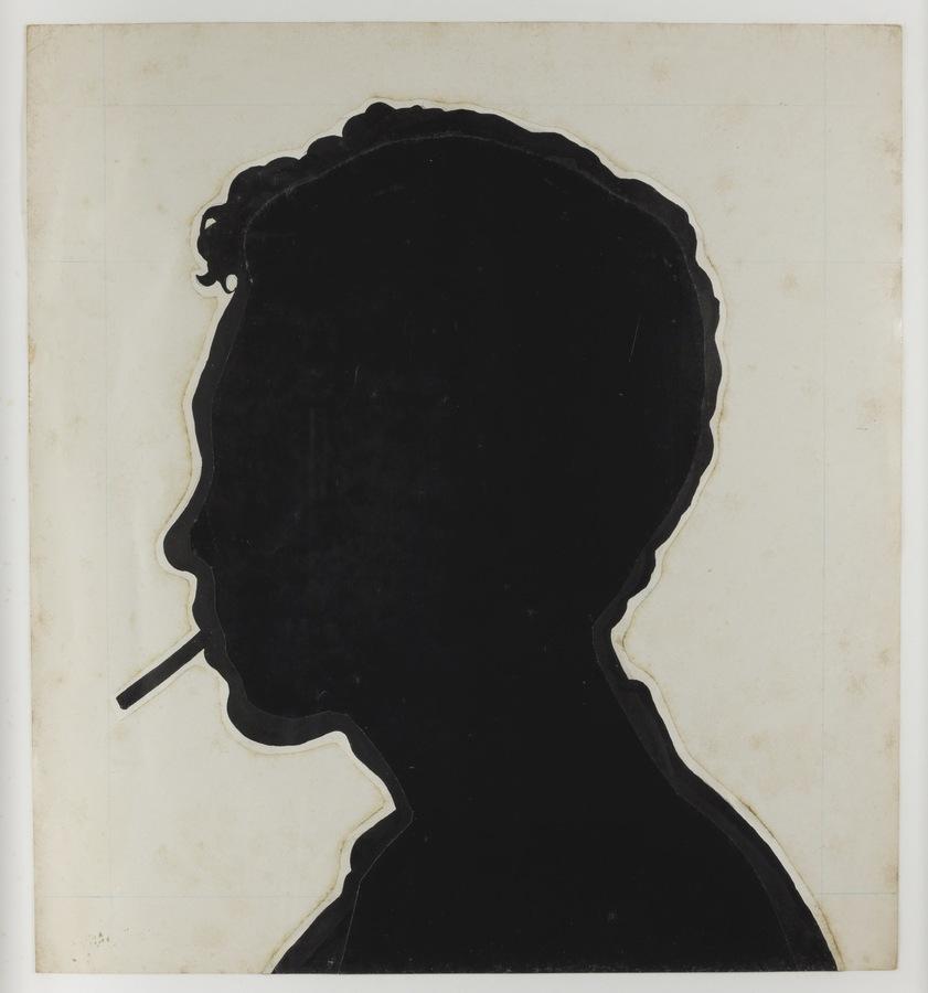 Roberto Obregón, Sin título (silueta del perfil de Roberto Obregón para la serie Niagara), c. 1995, papel, tinta y creyón sobre papel. © Archivo Roberto Obregón