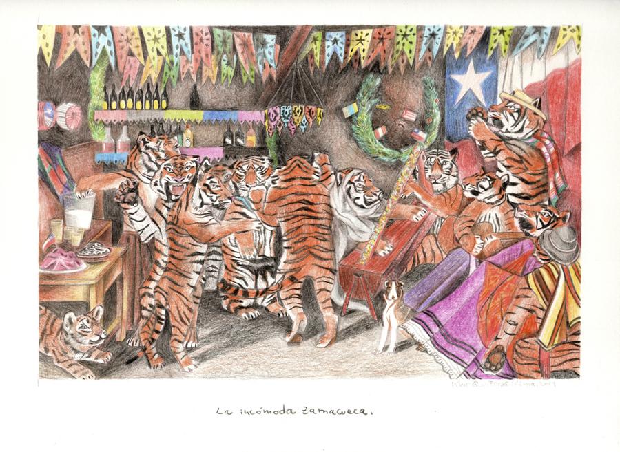 Pilar Quinteros, Tigres prestidigitadores, 2019, lápices de colores sobre papel, 25 x 33.5 cm