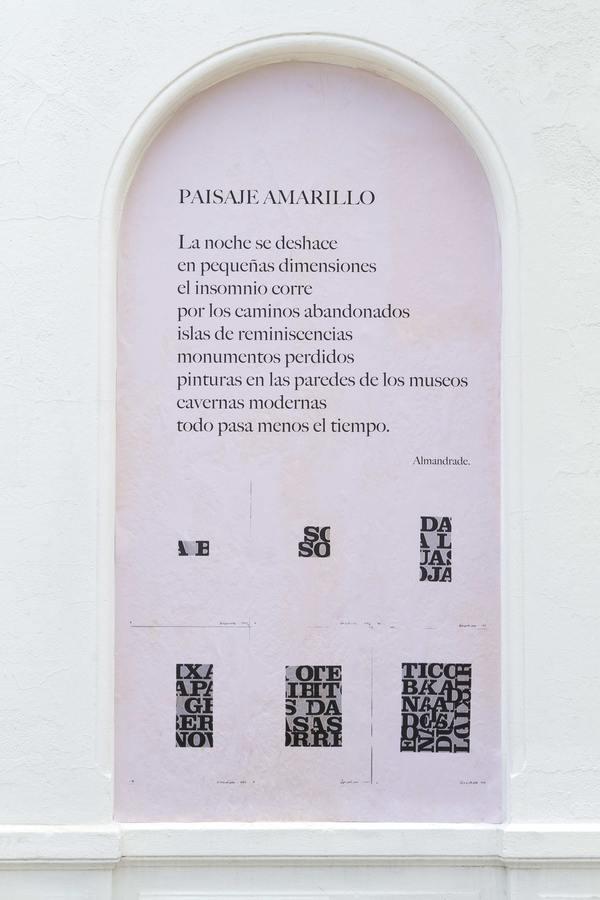 """Paisaje Amarillo, 2019, de Almandrade. Proyecto """"Muroescrito"""" de Galería Die Ecke, Santiago de Chile, 2019. Foto: Alvaro Mardones"""