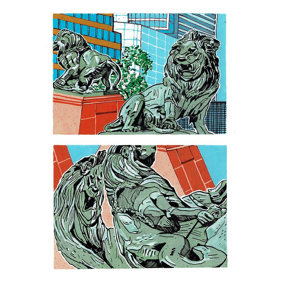 Pilar Quinteros, Tigres prestidigitadores, 2019, marcadores acrílicos sobre papel, 25 x 33.5 cm