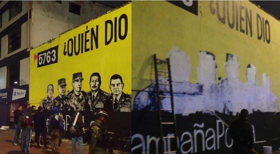 """Mural ejecutado por mandato de familiares de las víctimas de los llamados """"Falsos Positivos"""", antes (izq.) y después (der.) de la censura. Bogotá, octubre de 2019. Foto vía Pulzo"""