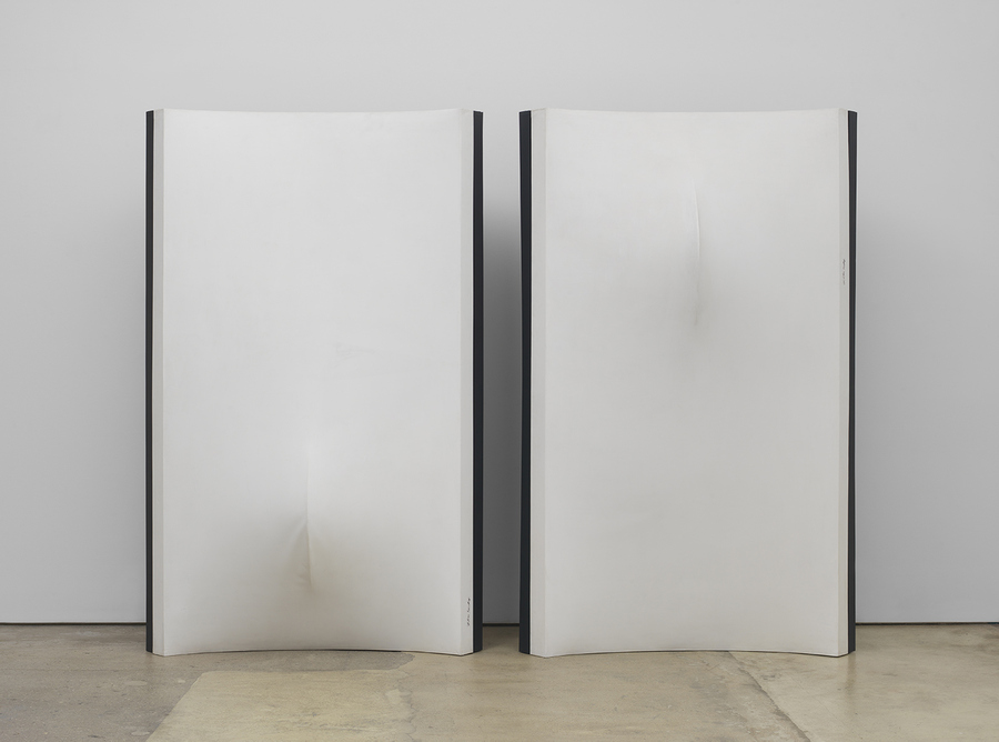 Zilia Sánchez, Eros, 1976 / 1998, acrylic on stretched canvas; painted wood supports. Panel 1: 85.5 x 54 x 20 inches (217.2 x 137.2 x 50.8 cm). Panel 2: 85.75 x 54 x 24 inches (217.8 x 137.2 x 61 cm). © Zilia Sánchez. Courtesy Galerie Lelong & Co., New York