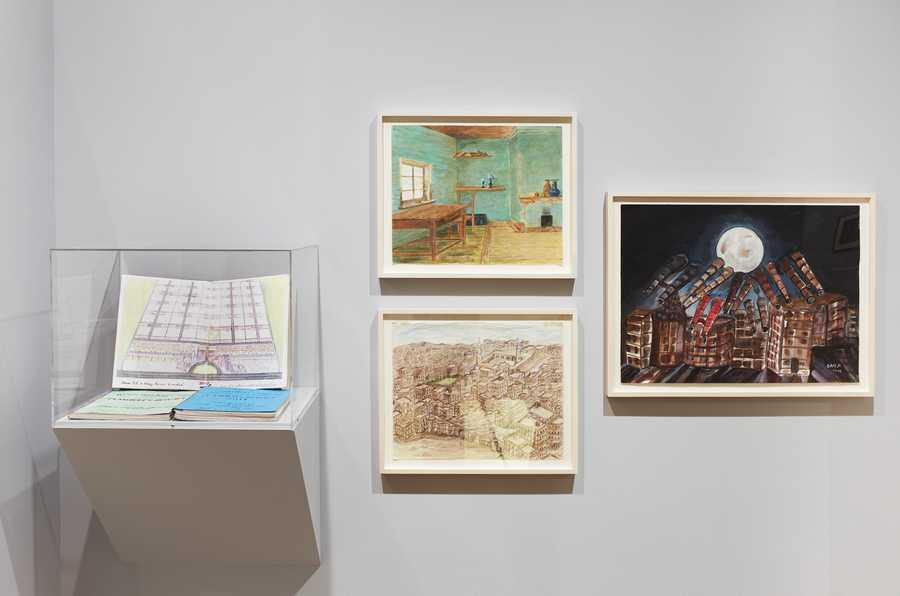 Installation view: The Pencil Is a Key: Drawings by Incarcerated Artists , The Drawing Center, New York. October 11, 2019 – January 5, 2020. Photo: Martin Parsekian.