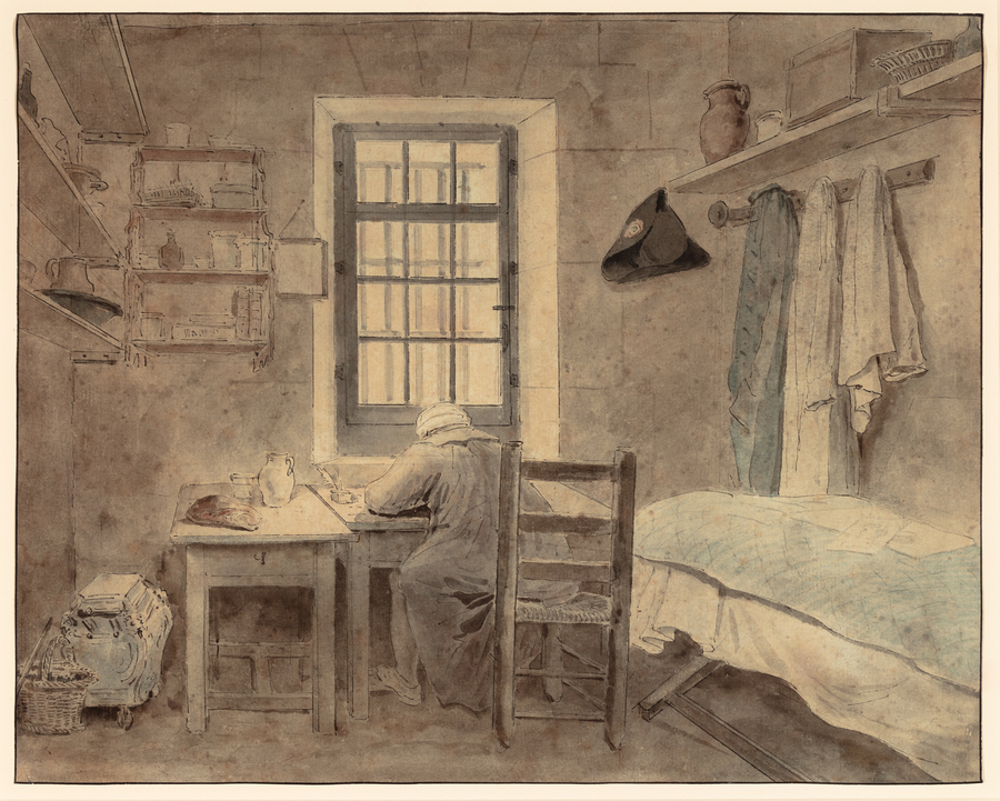 Hubert Robert, An Inmate of Saint-Lazare Prison, 1794. Ink and graphite on paper, 10 1/4 x 13 inches (26 x 33 cm). Private collection. Photography by Kevin Noble