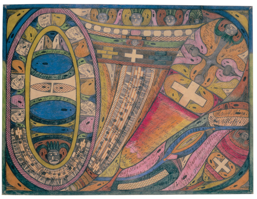 Adolf Wölfli, The Kander Valley in the Bernese Oberland, 1926. Pencil and colored pencil on paper, 18 1/2 x 24 3/8 inches (47 x 61.9 cm). American Folk Art Museum, Blanchard-Hill Collection, Gift of M. Anne Hill and Edward V. Blanchard, Jr.