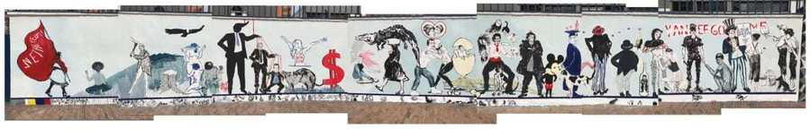 El mural de los artistas colombianos Lucas Ospina y Power Paola en la fachada del Instituto Colombo Americano, minutos antes de la censura. Foto: @luisaponcas. Vía Esfera Pública