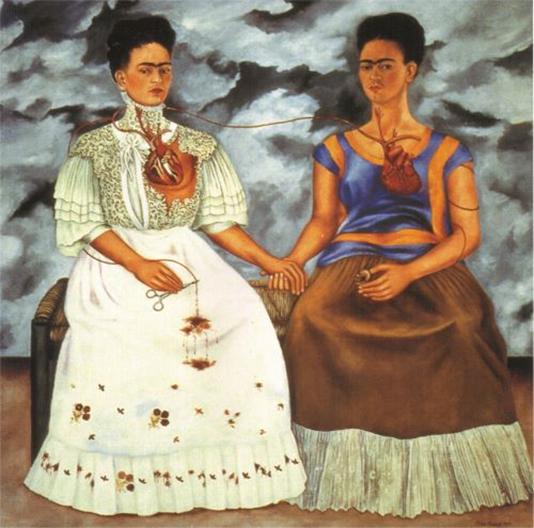 Frida Kahlo, Las dos Fridas, 1939, óleo sobre tela, 173 x 173 cm. Colección Museo de Arte Moderno de México