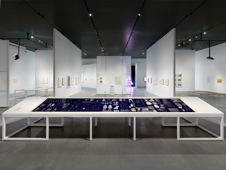 """Installation view of """"Agnes Denes: Absolutes and Intermediates"""", The Shed, New York. October 9, 2019 – March 22, 2020. Photo: Scott Rudd Events."""
