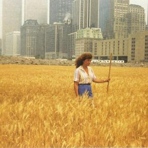 Agnes Denes, Wheatfield—A Confrontation. Two acres of wheat planted and harvested by the artist on the Battery Park landfill, Manhattan, Summer 1982. Commissioned by Public Art Fund. Photo by John McGrall. Courtesy the artist and Leslie Tonkonow Artworks + Projects.