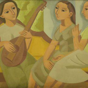 """Norah Borges, """"El diván amarillo"""", 1961, óleo sobre cartón, 73,5 x 104 cm. Colección Museo Rosa Galisteo de Rodríguez."""
