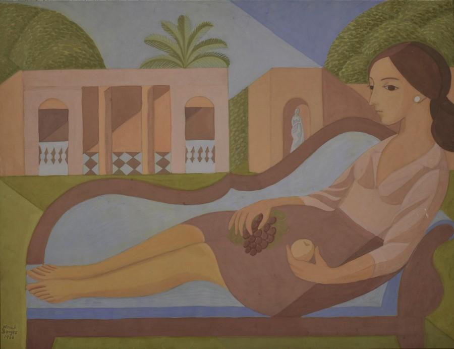 "Norah Borges, ""Vieja quinta"", 1966, témpera sobre papel, 52 x 69 cm. Colección Museo de Arte Tigre."
