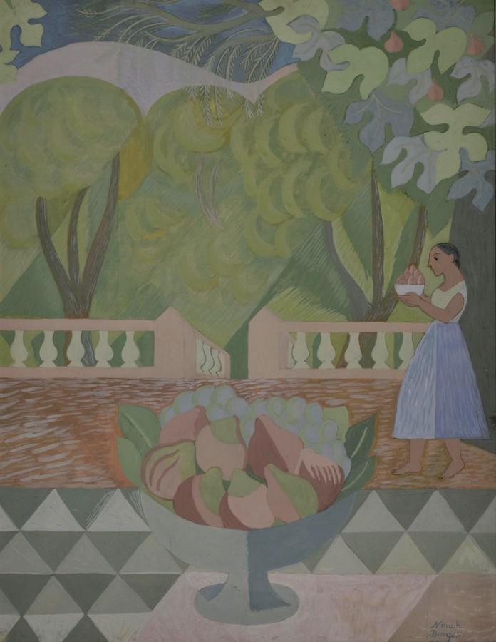 Norah Borges, Sin título, 1956. Témpera y acuarela sobre tela, 65 x 50 cm. Colección particular.