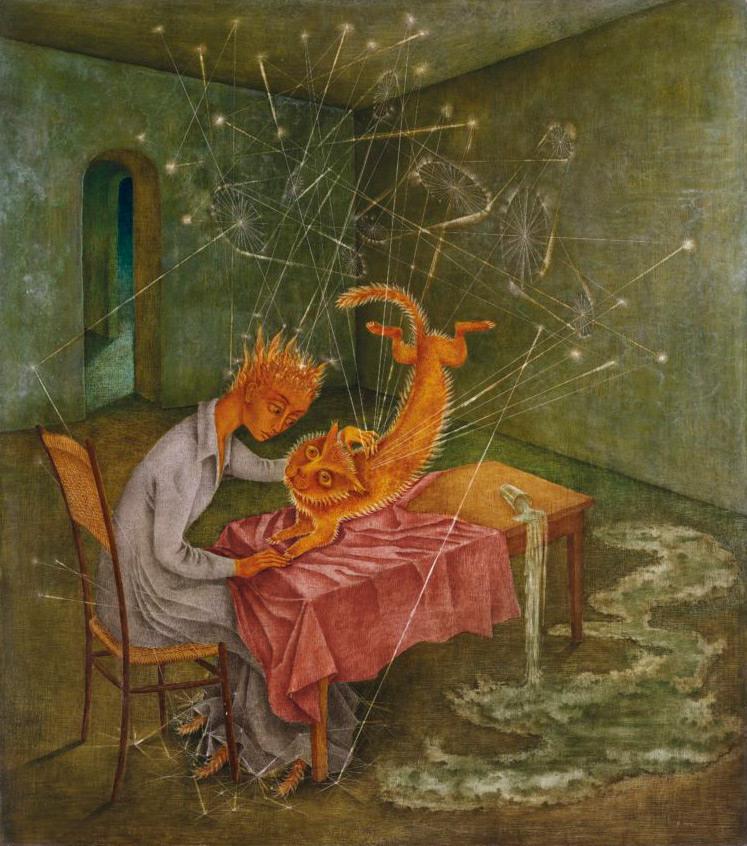 Remedios Varo, Simpatía (La rabia del gato), 1955, óleo, 95.9 x 85.1 cm. Cortesía: Malba