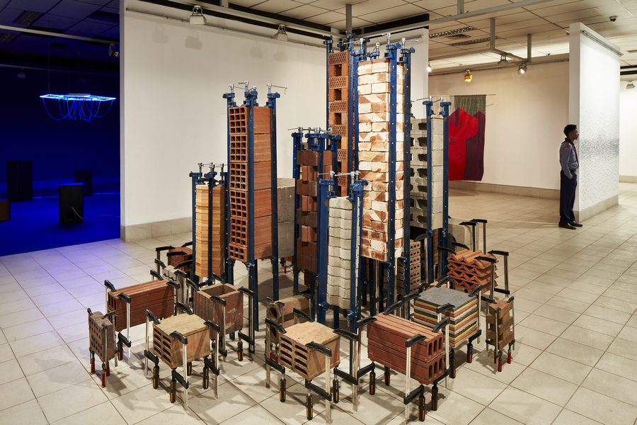 Marlon de Azambuja, 'Untitled (from the Brutalismo Series),' 2019-2020, industrial metal clamps, building material sourced in Dhaka. Commissioned for DAS 2020. Courtesy of the artist and Samdani Art Foundation and Instituto de Vision. Realised with additional support from Acción Cultural Española (AC/E). Photo: Randhir Singh.