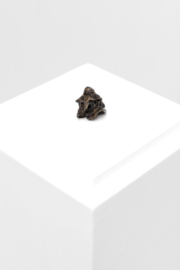 Manuela Ribadeneira, Partícula de dios (o una miga de pan), 2012, bronce, approx. 4 x 4 cm, Edición ilimitada. Foto: Eva Herzog. Cortesía: Cecilia Brunson Projects, Londres