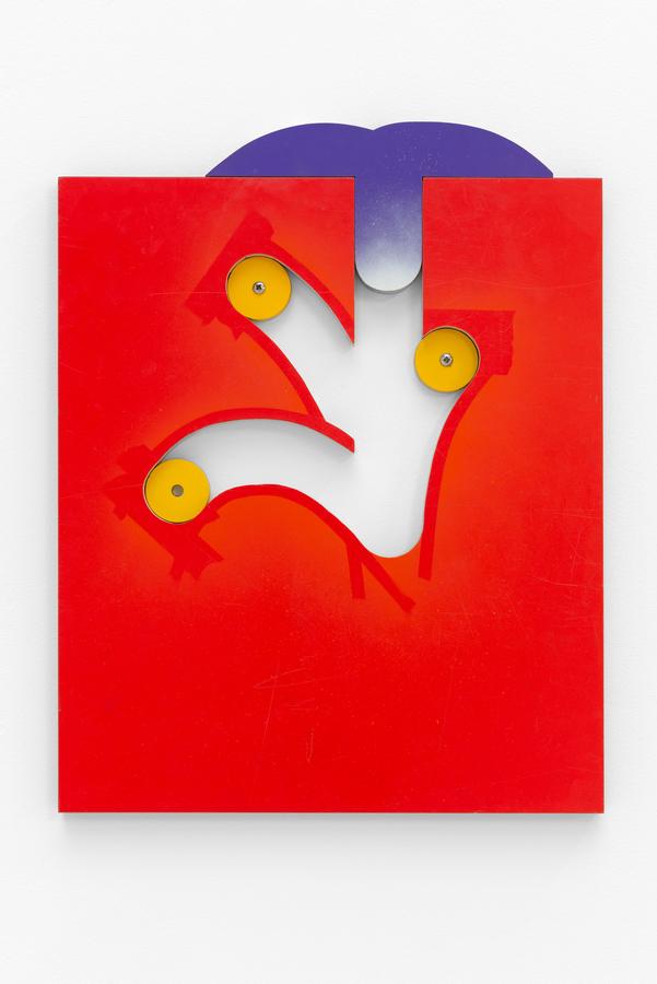 Alexandre Canonico, But , 2020, pintura spray sobre madera contrachapada y acero, 42 x 53 cm. Foto: Eva Herzog. Cortesía: Cecilia Brunson Projects, Londres