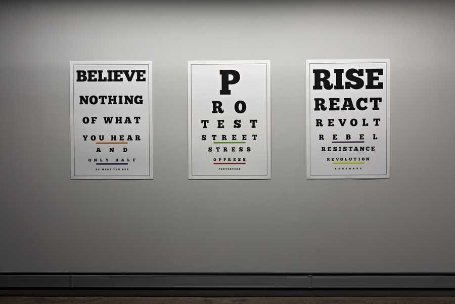 Iván Navarro, Carta Visual (Believe, Protest, Rise), 2019, litografía poligráfica, 100 x 70 cm. Edición de 25. Cortesía: Revolver Galería, Buenos Aires